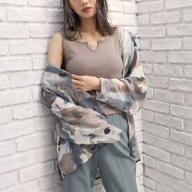 ニュアンスパターンオーバーサイズシャツ(ベージュ)