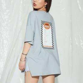 dinerプリントオーバーサイズTシャツ(ライトブルー)