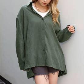 ピーチスキンオーバーサイズシャツ(グリーン)