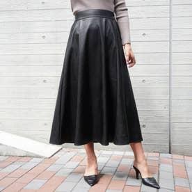 エコレザーロングフレアスカート(ブラック)