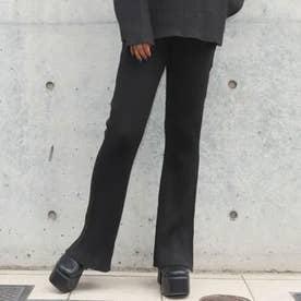 ウールタッチリブニットラメMIXフレアパンツ(ブラック)