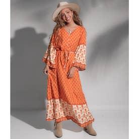裾フレアオリエンタルフラワーワンピース(オレンジ)