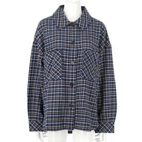 オーバーサイズチェックシャツ(ブルー)