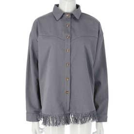 フリンジツイルシャツ(ダークグレー)