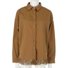 フリンジツイルシャツ(ブラウン)