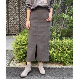 ツイル起毛タイトスカート(ダークグレー)