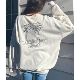 パームツリー刺繍スウェットトップス(オフホワイト)