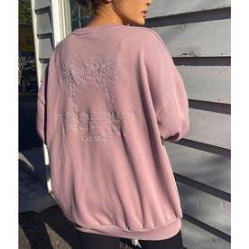 パームツリー刺繍スウェットトップス(ピンク)
