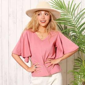 袖フレアTシャツ(ピンク)