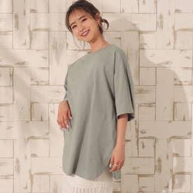 USAコットンヘムラウンドビッグTシャツ(カーキ)