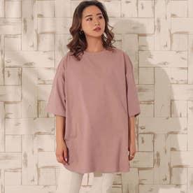 USAコットンヘムラウンドビッグTシャツ(ピンク)