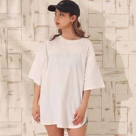 USAコットンヘムラウンドビッグTシャツ(ホワイト)