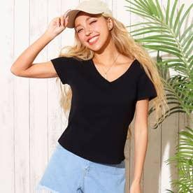 リブ2WAYTシャツ(ブラック)