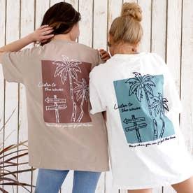USAコットンパームツリー刺繍ビッグTシャツ(ホワイト)