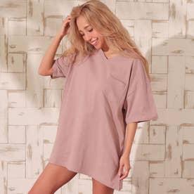 USAコットンVネックシンプルTシャツ(ピンク)