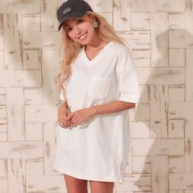 USAコットンVネックシンプルTシャツ(ホワイト)