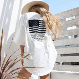USAコットンサガラ刺繍ビッグTシャツ(グレージュ)
