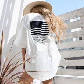 USAコットンサガラ刺繍ビッグTシャツ(ホワイト)
