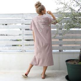 USAコットンメッセージ刺繍マキシワンピース(ピンク)