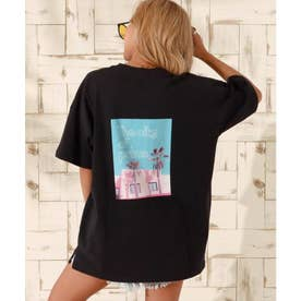 パームツリーフォトビッグTシャツ(ブラック)