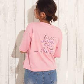 刺繍クロップドTシャツ(ピンク)