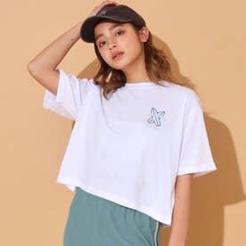 刺繍クロップドTシャツ(ホワイト)