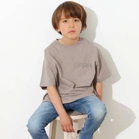 【KIDS】オルテガ刺繍ラウンドヘムビックTシャツ(グレージュ)