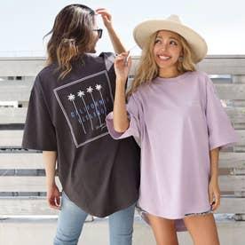 パームツリー刺繍ラウンドヘムビックTシャツ(ダークグレー)