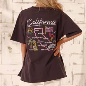 USAコットンマップ刺繍ビッグTシャツ(ダークグレー)