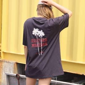 パームツリープリントTシャツ(ダークグレー)