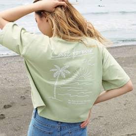 プリントクロップドTシャツ(カーキ)