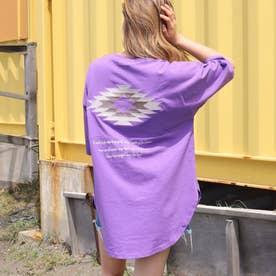 オルテガ刺繍切替えTシャツ(パープル)