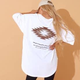 オルテガ刺繍切替えTシャツ(ホワイト)