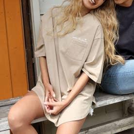 メッセージプリントTシャツ(グレージュ)