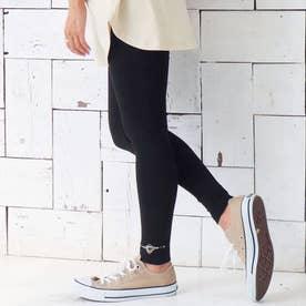 裾オルテガ刺繍レギンス(ブラック)