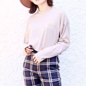 裾ラウンドプリントロングTシャツ(グレージュ)
