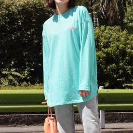 裾ラウンドプリントロングTシャツ(ターコイズ)