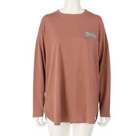 裾ラウンドプリントロングTシャツ(ブラウン)