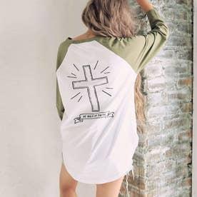 バッククロス刺繍ラグランロングTシャツ(カーキ)
