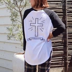 バッククロス刺繍ラグランロングTシャツ(ブラック)