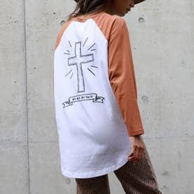 バッククロス刺繍ラグランロングTシャツ(レッド)