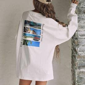 転写プリントロングTシャツ(ホワイト)