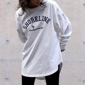 フラミンゴサーフラウンドヘムロングTシャツ(ホワイト)