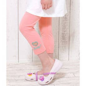 ハート開き刺繍ロゴレギンス (ピンク)