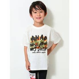 手書きロゴ迷彩ビッグTシャツ (ホワイト)