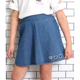 ハート型抜きデニムスカート(ブルー)