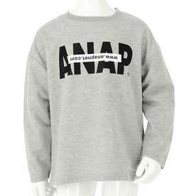 ANAPロゴミニ裏毛ロングTシャツ(グレー)