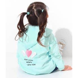 羽ハート刺繍パーカー(サックスブルー)