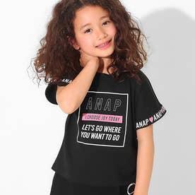 袖ロールアップドルマンTシャツ(ブラック)