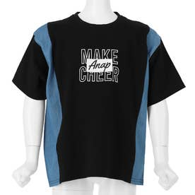 デニムコンビビッグTシャツ(ブラック)